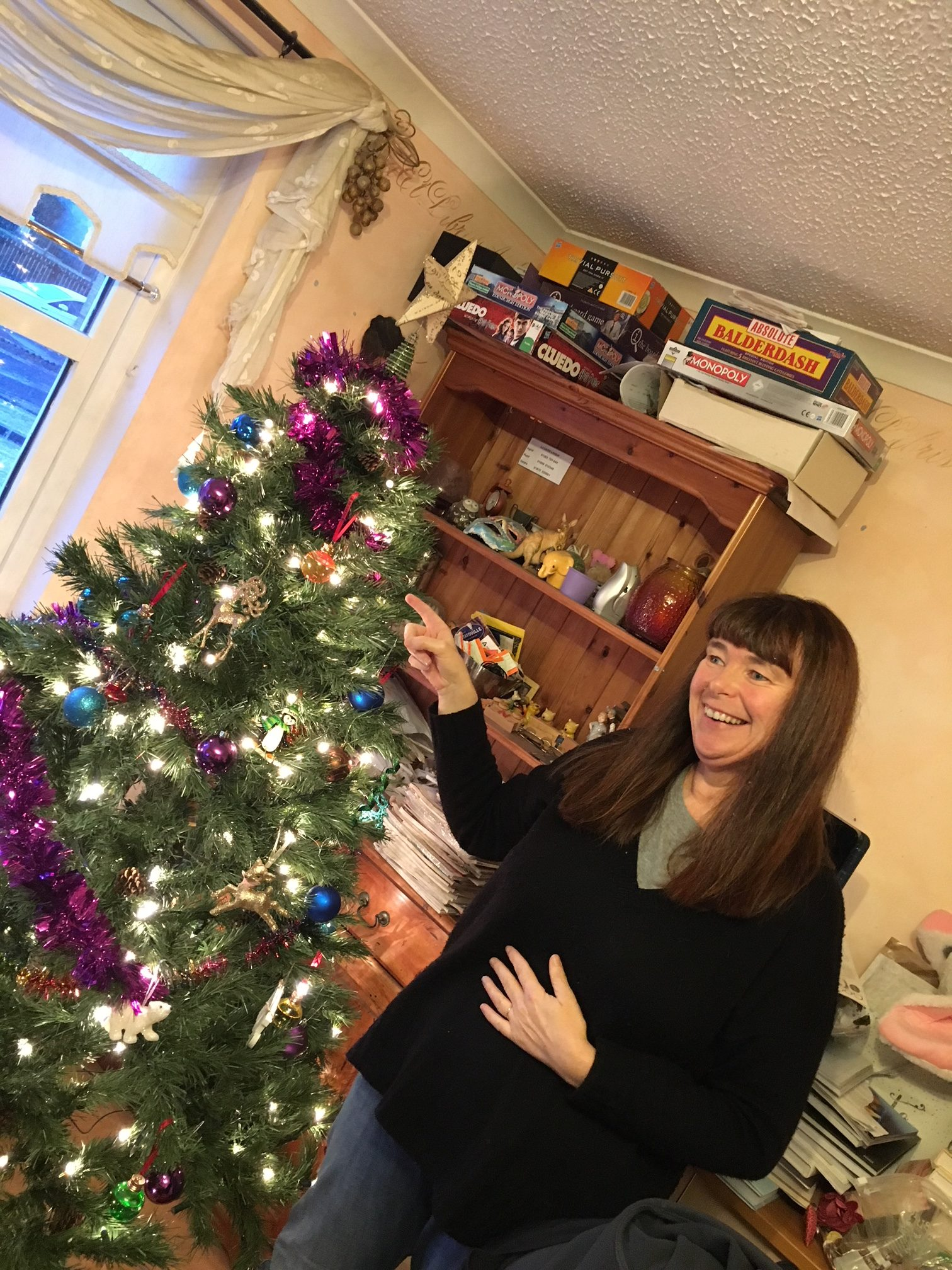 Caron Lindsay and Christmas tree